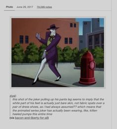 That is really funny. The animated series Joker wears kitten heels. - Batman Funny - Ideas of Batman Funny - That is really funny. The animated series Joker wears kitten heels. Dc Memes, Funny Memes, Hilarious, Tumblr Funny, Batman Meme, Really Funny, The Funny, Nananana Batman, Kitten Heels