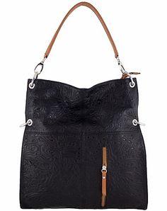 Etasico Delilah Flower Lace Laser Cut Leather Folder Over Shoulder Black Bags  Made in Italy on 9c9dd5cca862b