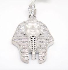 Custom YAGI 925 Matte Finish Sterling Silver Pave C Z  Pharaoh King Tut Pendant #LeonDiamond #Pendant