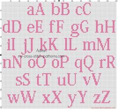 Free cross stitch alphabet Kozuka Mincho size 20 color DMC 3806 for female babies
