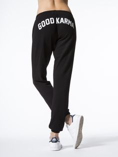 Accrue good karma wherever you go with the Good Karma Arch Favorite Sweatpant by Spiritual Gangster. Made from the softest cotton fabric blend, these black sweatpants feature a white graphic at back and elastic at ankles.