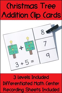 These Christmas Tree Addition Clip Cards provide a fun and differentiated math center for your students! Your students can use dice and math equations to practice addition facts. 3 levels of cards are provided to help you differentiate for your students needs, as well as many different options for recording sheets. Use in math centers or small groups for your Kindergarten, First Grade, or Second Grade students. Common Core standards are included as well as a black and white printable version.