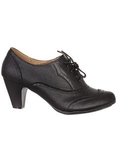 Coal Mill Lace-Up Oxford Heels by Refresh Shoes, Shoes, Black