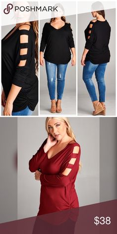 The Here I Am Top!!! 11/5/16 HOST PICK BEST IN TOPS!!!.  Strap Detail Long Cold Sleeves Top. 95% Rayon 5% Spandex. Available in burgundy and black. This listing is for black only. Burgundy is under a separate listing. Tops