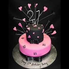 Pink and black hearts 21st birthday cake