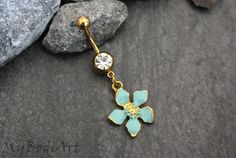 Mint Flower Navel Ring | Belly Button Rings Gold | Dangle Belly Ring | Lotus Navel Piercing | Surgical Stainless |w/ Alluring Blue Crystals