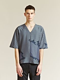 LANVIN MEN'S PATTERNED SILK T-SHIRT    £662.00