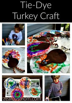 Tie-Dye Turkey Craft. Great Thanksgiving craft for the week of Thanksgiving or even on Thanksgiving day when the kiddos get antsy.