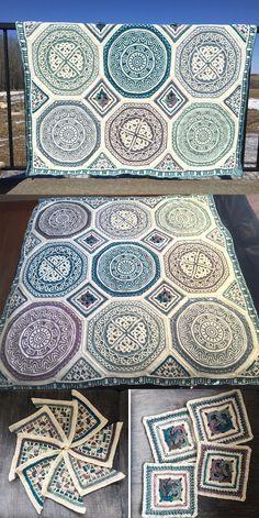 About Labyrinth Celtic mandala blanket - Labyrinth Celtic Mandala Blanket (overlay crochet). Crochet Mandala Pattern, Granny Square Crochet Pattern, Afghan Crochet Patterns, Crochet Squares, Crochet Blocks, Knitting Patterns, Crochet Granny, Double Crochet, Manta Mandala