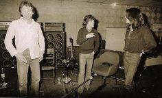 "Recording ""Back in Black"" at studio - Angus Young, Cliff Williams - 1980."