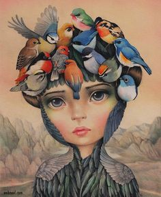 From Haven Gallery, Raúl Guerra, The Dreamer (Pajaros en la Cabeza) Colored pencils and watercolors on 250 grms illustration paper, 10 × 8 in Arte Lowbrow, Surrealism Painting, Pics Art, Whimsical Art, Surreal Art, Art Images, Art Drawings, Pencil Drawings, Drawing Art