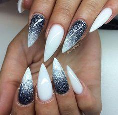 White Grey Glitter Nails
