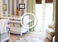 Classic Twin Boys Nursery Video Tour - #stripes #ProjectNursery