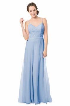 Spaghetti Strap gown with slight V- Neckline and Art Deco beaded bodice, smooth A-Line skirt and matching waist tie. | Style EN-1583 in Stone Blue #bridesmaids #wedding