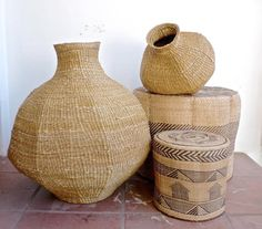 "blueberrymodern: "" African baskets - Batongo stools from Zambia and Xhosa gourd basket (Remodelista) """