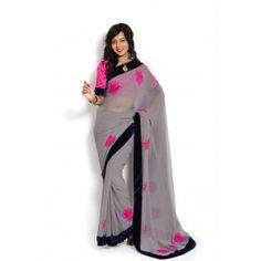 #Designer #Marble Chiffon Saree Shop now : http://www.valehri.com/grey-color-marble-chiffon-saree-with-raw-silk-blouse-1719