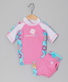 Look at this #zulilyfind! Pink & Blue Floral Rashguard Set - Girls by Snapper Rock #zulilyfinds