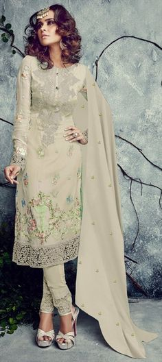 442575 Beige and Brown  color family Party Wear Salwar Kameez in Faux Georgette fabric with Lace, Machine Embroidery, Resham, Thread work .