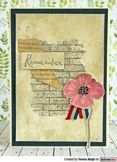 Card by Teresa Abajo using Darkroom Door Brick Wall Texture Stamp and Poppies Stamp Set