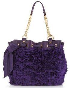 Juicy Couture Purple Ruffled Chiffon Bow Handbag