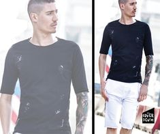 White comfortable shorts with monochrome black T-shirt