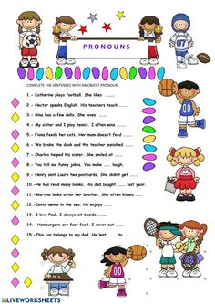 In this ws sts fill in the gaps with an object pronoun. Pronoun Worksheets, Free Printable Worksheets, Kindergarten Worksheets, Free Printables, Object Pronouns, Play Tennis, School Subjects, English Language, English Grammar