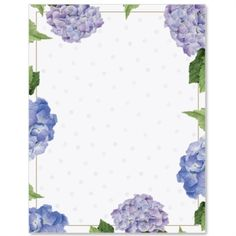Hydrangeas and Dots Border Papers | PaperDirect
