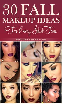 30 sexy Fall makeup ideas to get your face ready for Autumn with rich, dark lipsticks, warm, earthy eyeshadows & bold eyebrows.