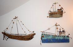 Driftwood Ideas, Driftwood Art, Wood Block Crafts, Wood Blocks, Sea Art, Sailing Ships, Nautical, Art Ideas, Houses