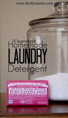 Homemade Laundry Detergent...Been wanting to try your hand at making your own laundry detergent? Desiring something that is free of toxins and easy on the wallet. Here is a great recipe that is simple and cheap to make with only 3 ingredients and is perfectly safe for your family.  | www.thriftystories.com