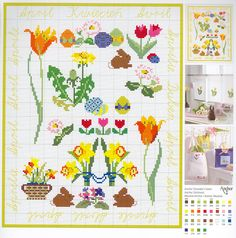 April Flowers free cross stitch pattern (Anchor)