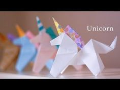 fácil ユニコーンの折り方★☆How to make an origami Unicorn 【Origami Tutor. How to make an origami Unicorn 【Origami Tutorial】 Origami 3d, Origami Design, Dragon Origami, Origami Star Box, Origami Wedding, Origami Butterfly, Paper Crafts Origami, Useful Origami, Origami Easy