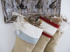 Shabby Chic Christmas Stocking in Burlap by TurnbowDesigns on Etsy