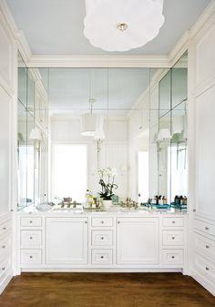 Atlanta Homes & Lifestyles - bathrooms mirror inset sconces, paneled vanity mirror, wraparound vanity mirror, ceiling height mirrored backsplash