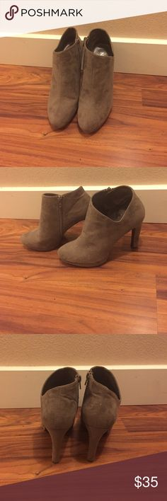 Ankle boots Super cute 4 inch grayish/tanish ankle boots! Only worn once & in great condition. Shoes Ankle Boots & Booties