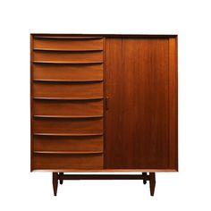 A stunning Danish Modern teak armoire circa 1960. From Modern Living Supplies on 1st dibs. $3,800.