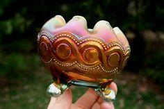 *NORTHWOOD ~ Beaded Cable Antique Carnival FTD Rosebowl Aqua Opalescent Beautiful