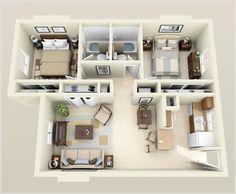 Plano casa pequeña dos cuartos dos baños