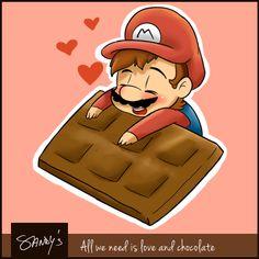 Mario loves chocolate. Do you? :)