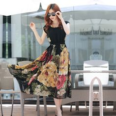 Summer Elegant Bohemian Style Short Sleeve Chiffon Dress -shop for this dress on Modest Dresses, Simple Dresses, Maxi Dresses, Modelos Fashion, Bohemian Style Dresses, Hijab Style, Chiffon Dress Long, Floral Chiffon, Beautiful Outfits