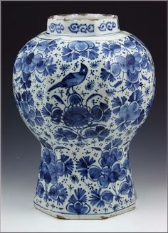 Wonderful 18th Century Delft Pottery Vase w/ Underglaze Blue Flowers