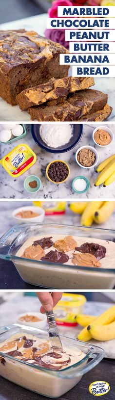 Get your sweet tooth excited! This Chocolate-Peanut Butter Banana Bread is designed with your indulgent side in mind. Start with our Best Ever Banana Bread Recipe, using I Can't Believe It's Not Butter!® to make your bread even more moist than baking with butter! Stir ⅓ C semisweet chocolate chips and ⅔ C peanut butter chips into the batter. For a marbled look, try melting the chips first and lightly folding them into the batter.