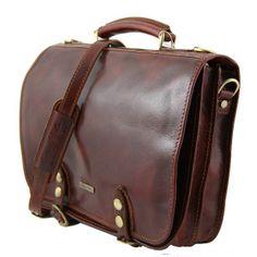 'Capri' Handmade Italian Leather Messenger Briefcase by Tuscany Leather (LBS122) - Leather Briefcases - Leather Briefcase & Bag Shop