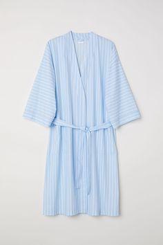 29f8e73a80b Cotton percale dressing gown   Light blue/White striped   H&M HOME   H&M BH