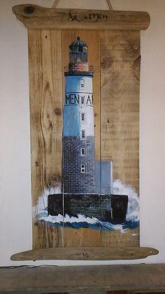 Phare Ar Men, Finistère, acrylique sur bois : Peintures par valheureuse