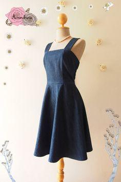 Denim Dress Shoulder Strap Dress Jeans Dress Summer by Amordress