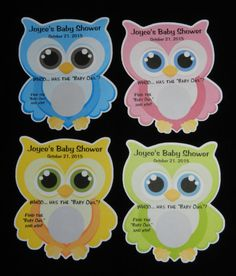 "Unique Personalized Baby Shower ""Whoo has the ""Baby Owl"" 1 Scratch Off Lotto Game Card, shape of Owl Pink, Blue, Green or Yellow on Etsy, $5.99"