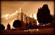 Lds Temple Logan Utah Sepia by Nathan Abbott