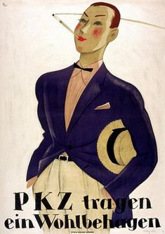 Vintage PKZ 1920s Dapper Mens Fashion Posters and Prints - Artist: Laubi c, 1925