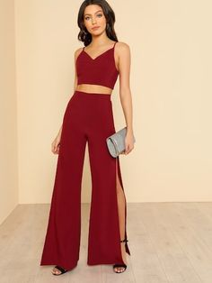 Shop Crop Cami Top & High Slit Pants Co-Ord online. SHEIN offers Crop Cami Top & High Slit Pants Co-Ord & more to fit your fashionable needs. Cami Tops, Cami Crop Top, Prom Outfits, Sexy Outfits, Fashion Outfits, Two Piece Dress, Two Piece Outfit, Crop Top Elegante, Moda Casual